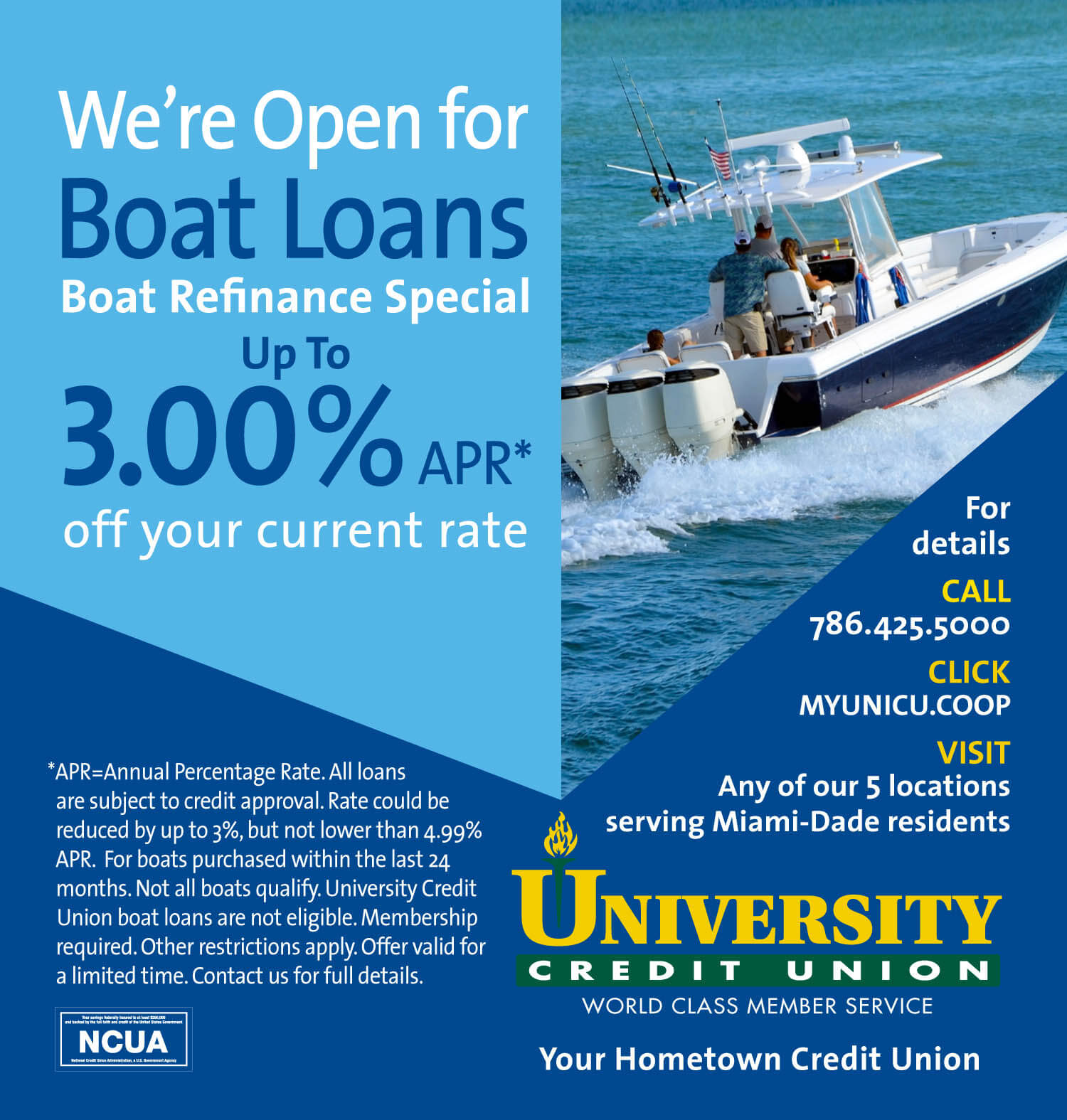 UCU Boat Loan Refinance and Save up to 3%