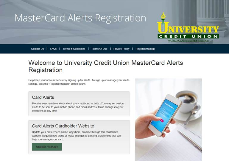 Screenshot of Mastercard Alerts Registration website